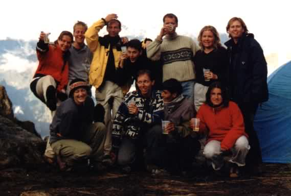Group picture during the Inca Trail: Femke, Diederick, Ronald, Otto, Mike, Dawn, Elisabeth, Joanne, Michiel, Freddy, Jenny