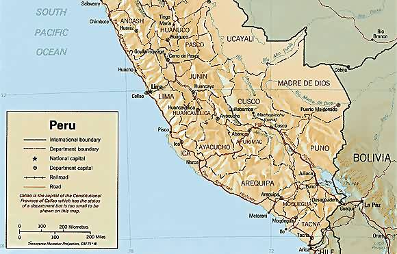 Map of south Peru